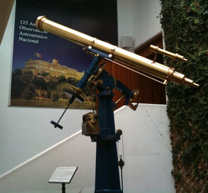 One of the several antique telescopes on display at the Ensenada offices of the 125 year old Mexican National Astronomical Observatory (OAN)